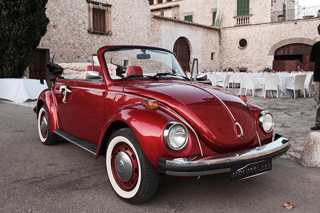 alquiler de escarabajo volkswagen beetle rojo 1976 en alicante bodas eventos rodajes jj dluxe cars portada 3