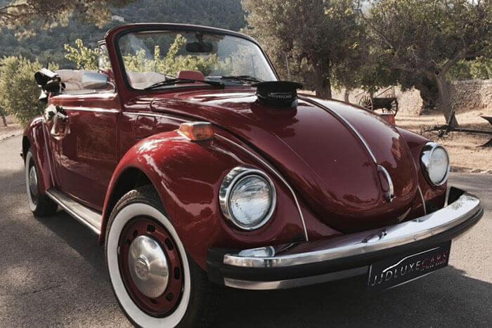 volkswagen vw beetle escarabajo cabrio descapotable 1976 rojo cereza alquiler de coches para bodas eventos y rodajes en alicante jjdluxe cars