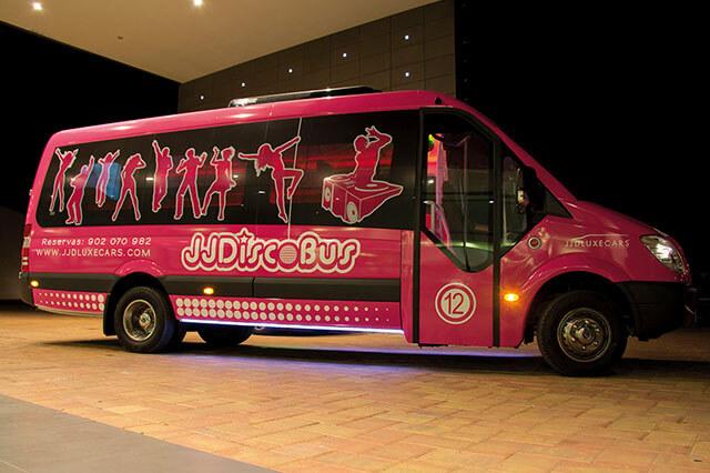 alquiler de discobus rosa en alicante transfers despedidas soltera fiestas cumpleanos eventos 21 personas jj dluxe cars 3